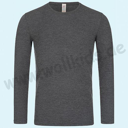 Sondermodell - ENGEL: Herren Langarm Hemd - LA Hemd - Wolle Seide basalt BIO