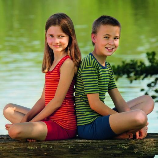 Engel Kinder Achselhemd Hemd Wolle/Seide blau/grün Ringel