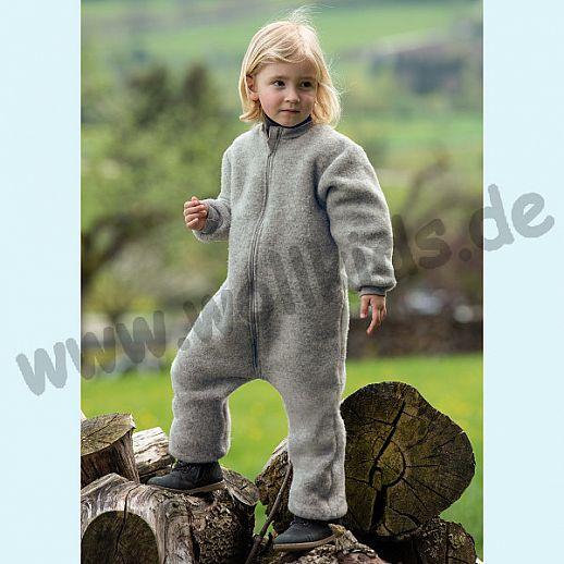 NEU: Engel Wollfleece Overall Baby-Overall mit Reißverschluß Merinowolle Fleece hellgrau melange