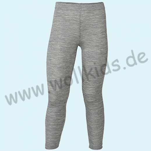 Engel Kinderleggin - lange Unterhose Wolle/Seide grau melange