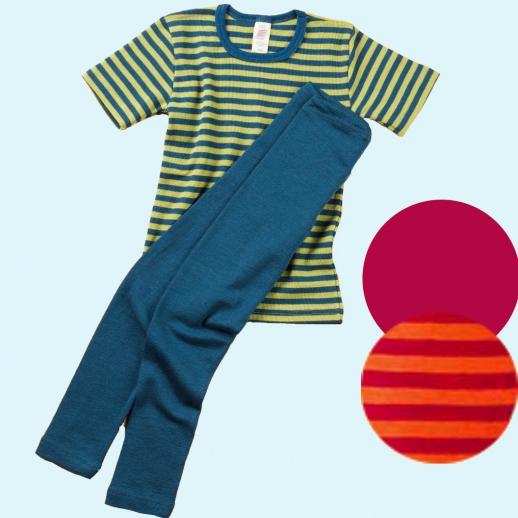 Engel Kinderleggin - lange Unterhose Wolle/Seide blau
