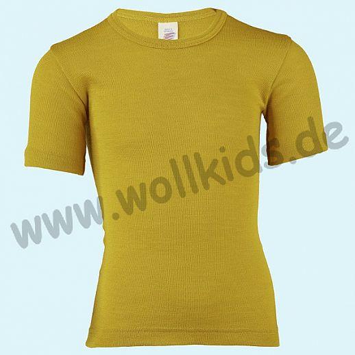 NEU: Engel Kinder Kurzarm Unterhemd Wolle Seide safran - curry