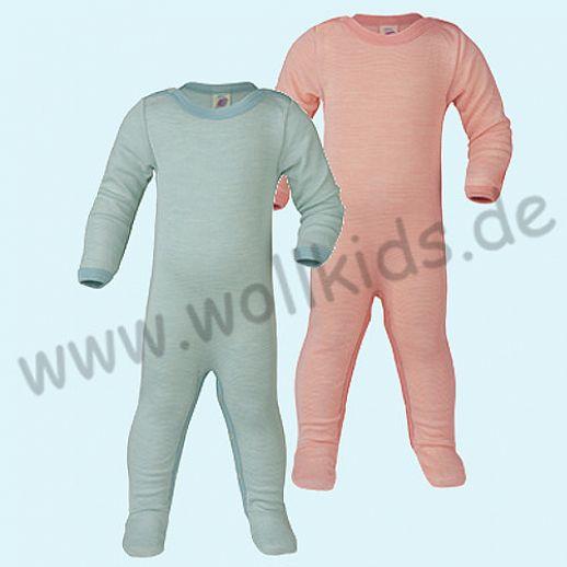Engel Schlafanzug Ganzkörperbody Longjohn Wolle Seide gletscher-natur oder lachs-natur