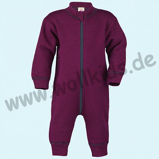 Sondermodell: Engel Schurwollfrottee Overall Anzug beere kbT Merino-Wolle