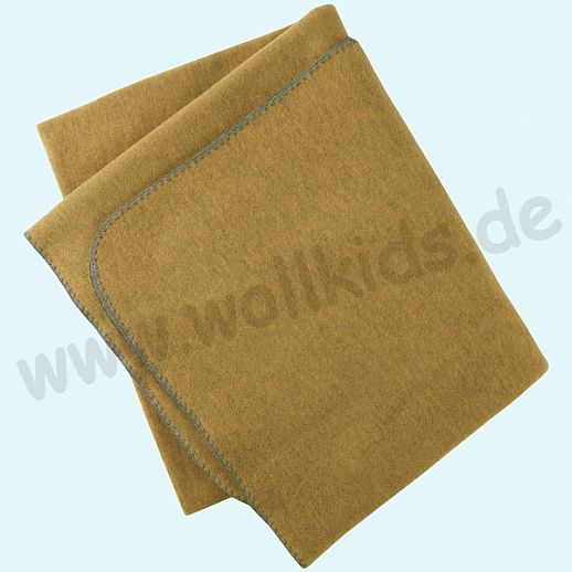 Engel Wollfleece Decke kbT 150cm x 180cm Merinowolle Fleece Wollfleece Decke safran - dickes Fleece