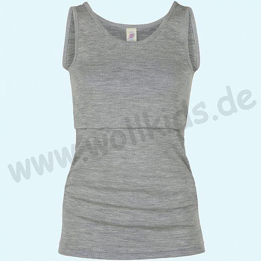 ENGEL: Genial! Damen Stillshirt - Shirt zum Stillen - Wolle Seide hellgrau melange BIO