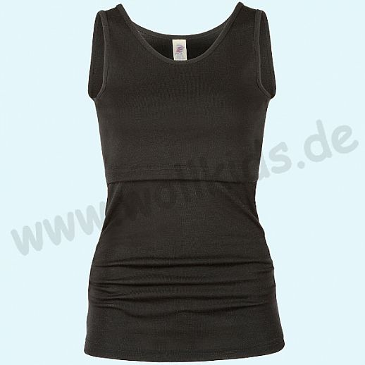 ENGEL: Genial! Damen Stillshirt - Shirt zum Stillen - Wolle Seide schwarz BIO