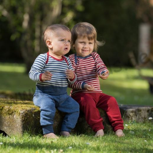 Engel Babybody LA kbT Merino-Wolle rot oder blau Ringel WASCHBAR