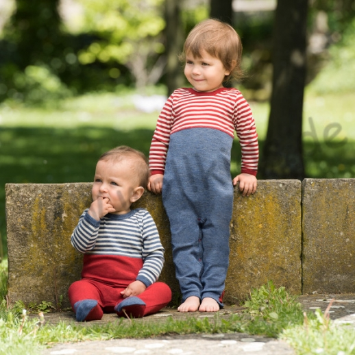 NEU: Engel Babyoverall Overall LA kbT Merino-Wolle rot oder blau Ringel WASCHBAR