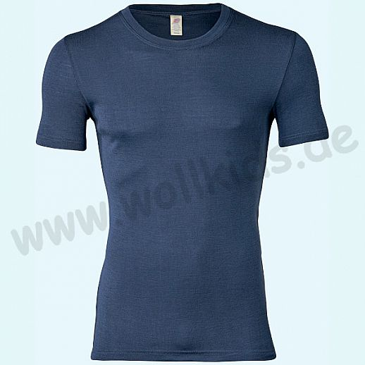 ENGEL: Herren Kurzarm Shirt - KA Hemd - Wolle Seide marine BIO
