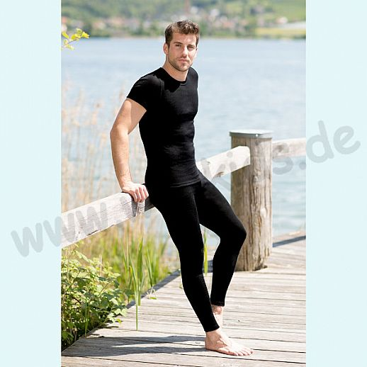 ENGEL: Herren Kurzarm Shirt - KA Hemd - Wolle Seide schwarz BIO