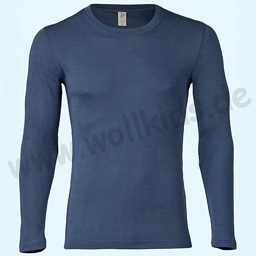 ENGEL: Herren Langarm Shirt - LA Hemd - Wolle Seide marine BIO
