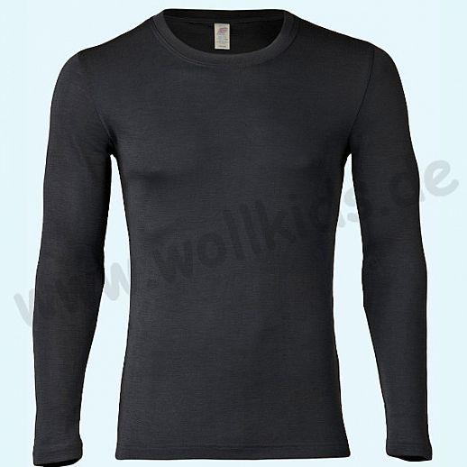 ENGEL: Herren Langarm Shirt - LA Hemd - Wolle Seide schwarz BIO