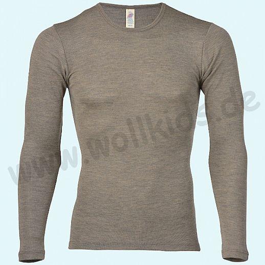 ENGEL: Herren Langarm Hemd - LA Hemd - Wolle Seide walnuß BIO