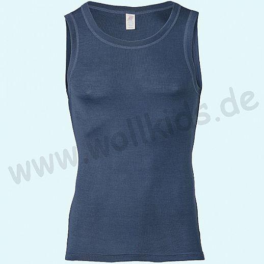 ENGEL: Herren Achselhemd -Trägerhemd - Hemd - Wolle Seide marine BIO
