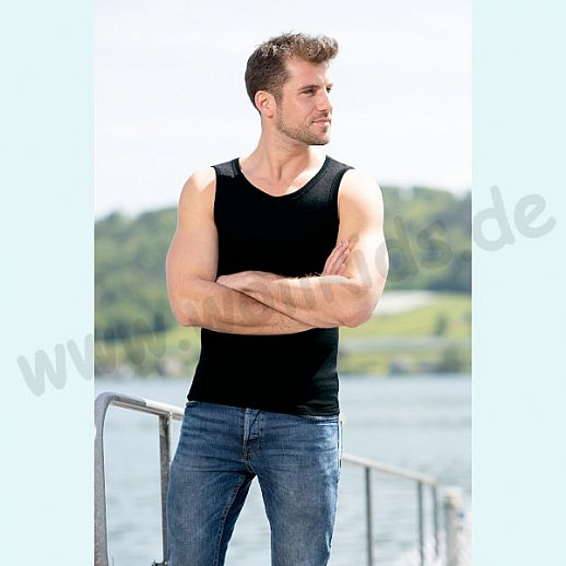 ENGEL: Herren Achselhemd -Trägerhemd - Hemd - Wolle Seide schwarz BIO