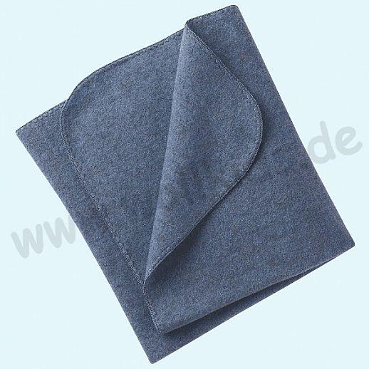 Engel Wollfleece Decke kbT Merino-Wolle Merinowolle Fleece blau melange Muschelkante