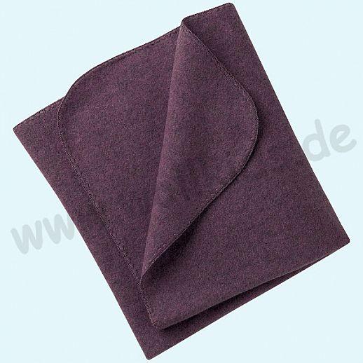 Engel Wollfleece Decke kbT Merino-Wolle Merinowolle Fleece lila pflaume Muschelkante
