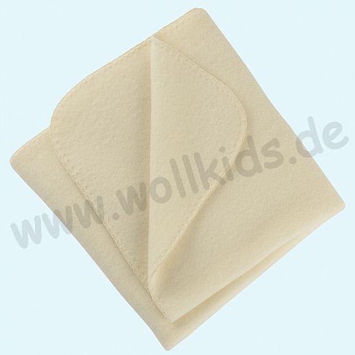 Engel Wollfleece Decke kbT Merino-Wolle Merinowolle Fleece natur Muschelkante
