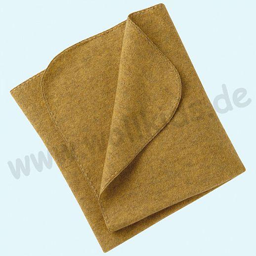 Engel Wollfleece Decke kbT Merino-Wolle Merinowolle Fleece safran Muschelkante