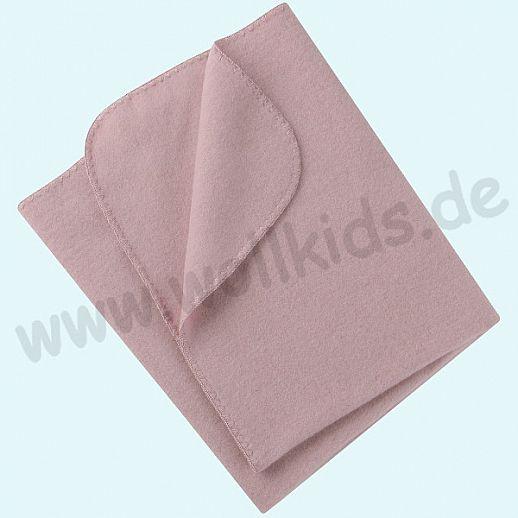 Engel Wollfleece Decke kbT Merino-Wolle Merinowolle Fleece rosenholz melange rosa Muschelkante