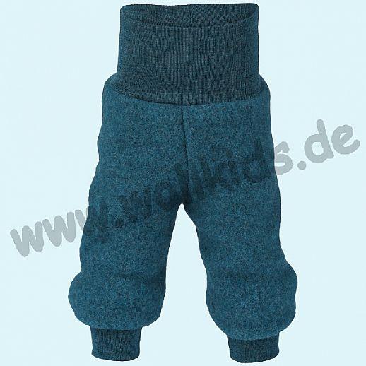 Engel Schurwoll-Fleece Hose mit Yogabund petrol melange kbT Merino-Wolle