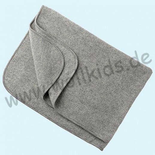 Engel Wollfleece Decke kbT Merino-Wolle Merinowolle Fleece  grau melange
