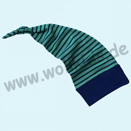 Engel Zipfelmütze Mütze Häubchen Wolle Seide eisvogel-marine