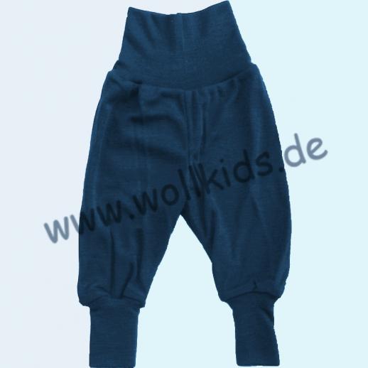NEUHEIT: ENGEL  Baby Hose mit verschließbaren Beinbündchen, Wolle Seide BIO blau