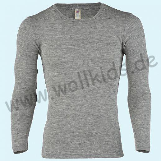 ENGEL: Herren Langarm Hemd - LA Hemd - Wolle Seide hellgrau melange BIO