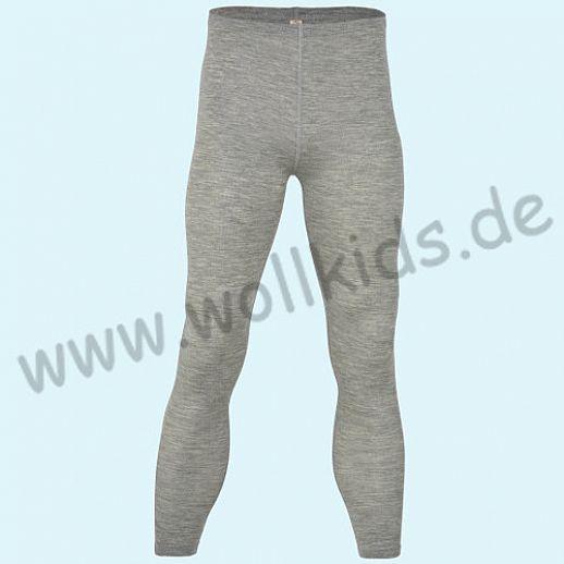 ENGEL: Herren Leggin - lange Unterhose - Wolle Seide hellgrau melange BIO