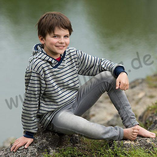 Engel Schurwollfrottee Pullover Kapuzenpulli Hoody blau grau Ringel kbT Merino-Wolle