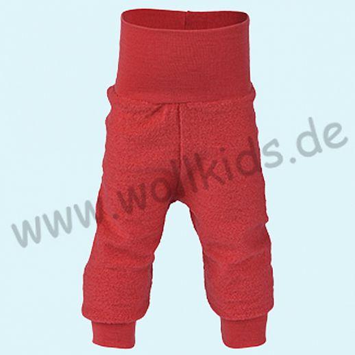 Engel Schurwollfrottee Hose mit Yogabund rot kbT Merino-Wolle