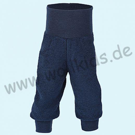 Engel Schurwollfrottee Hose mit Yogabund marine kbT Merino-Wolle