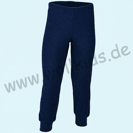 Engel Schurwollfrottee Hose marine kbT Merino-Wolle Schlafanzughose