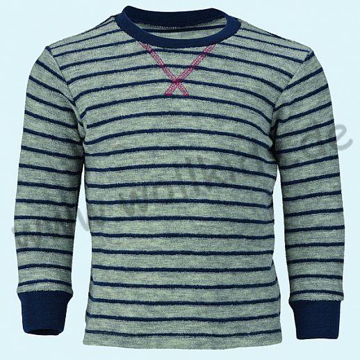 Engel Schurwollfrottee Pullover blau grau Ringel kbT Merino-Wolle Schlafanzug Pulli