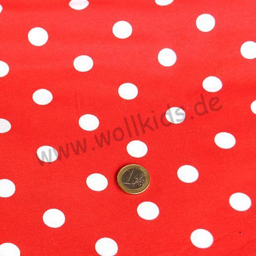 Jersey - Baumwolle - rot mit weißen Punkten - Fliepi Design - TRAUMHAFT