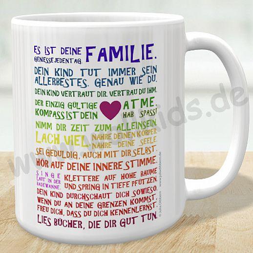 NEU: 2 Motive - Panorama Tasse Kaffeetasse Becher von Julia Dibbern: Es ist Deine Familie - doppelseitig