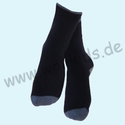 ALBERO - BIO Baumwolle - Damen- und Herrensocken Frottee Thermosocken dunkelblau