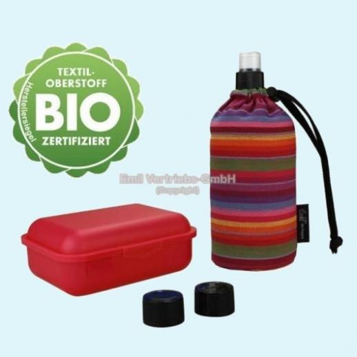 Geschenkset: Emil die Flasche - BIO Streifen Set 0,3l oder 0,4l mit Brotbox und Trinkcap