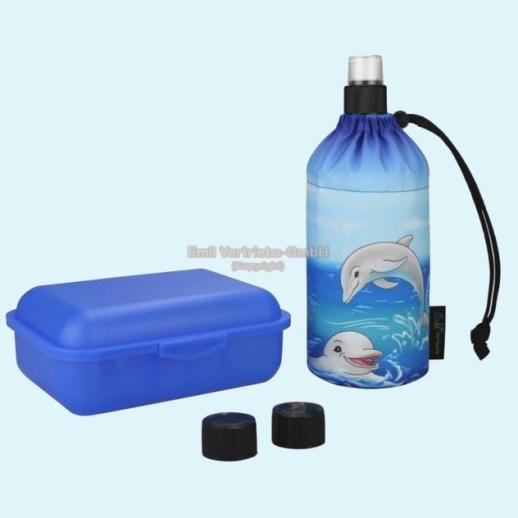 Geschenkset: Emil die Flasche - Delfine - 0,3l oder o,4l mit Brotbox und Trinkcap
