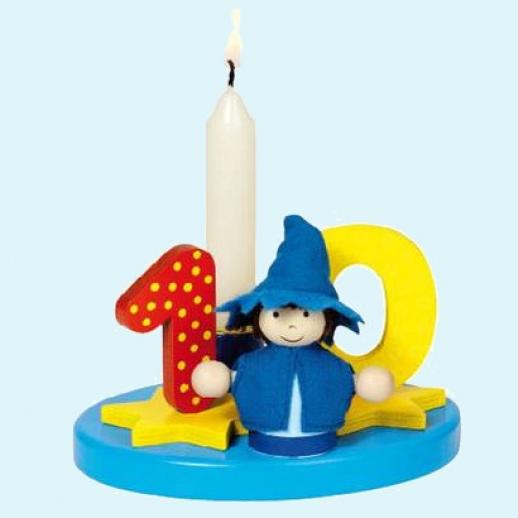 GOKI Geburtstagskerze Geburtstag Kerzen mit austauschbaren Zahlen, blau, Holz