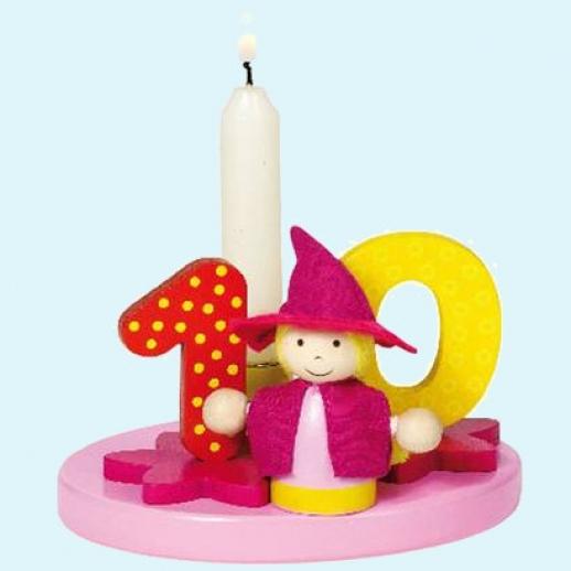 GOKI Geburtstagskerze Geburtstag Kerzen mit austauschbaren Zahlen, rosa, Holz