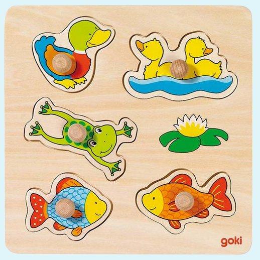 Goki holzpuzzle unser teich f rdert motorik spielzeug for Wassertiere teich