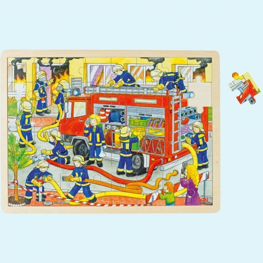 GOKI Holzpuzzle - Feuerwehr - fördert Motorik und Entwicklung Spielzeug Puzzle 48 Teile