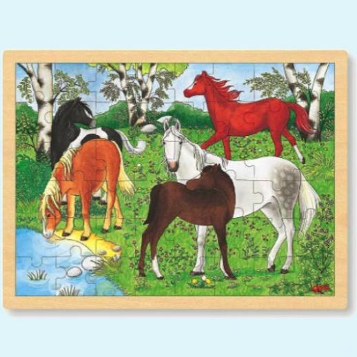 GOKI Holzpuzzle - Ponyhof Pferde - fördert Motorik & Entwicklung Puzzle 48 Teile