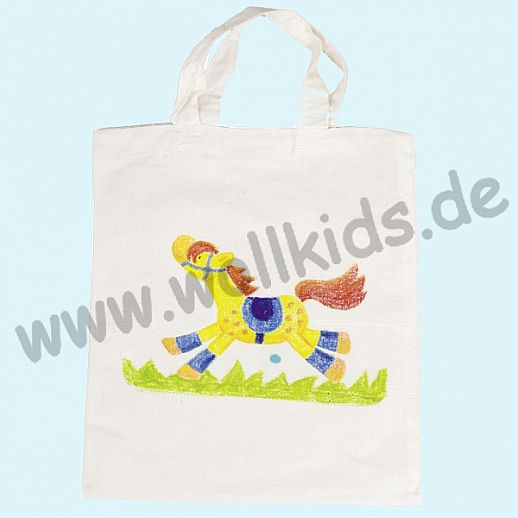 GOKI SET: Baumwoll-Tasche + Stoffmalstifte - Tasche - Umweltbeutel zum Bemalen