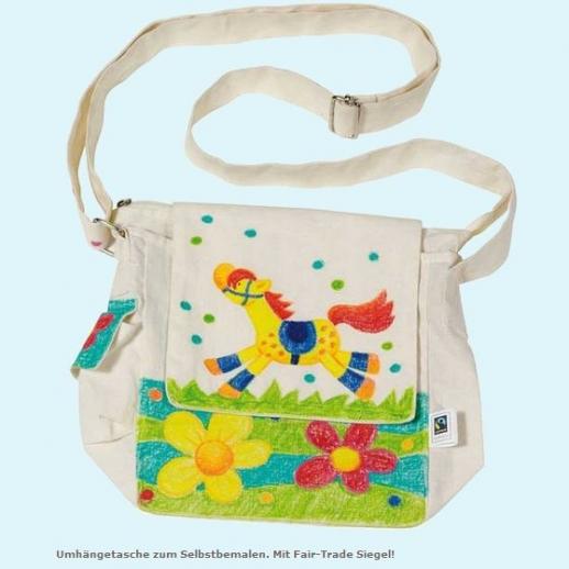GOKI SET: Baumwoll-Tasche Fair Trade + Stoffmalstifte - Kindergarten - Tasche