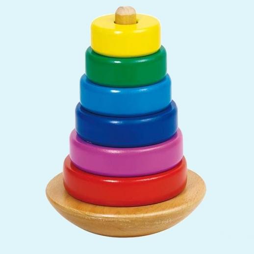 GOKI Spielturm Stapelturm Holz Turm Türmchen Motorikspiel für Kleinkinder