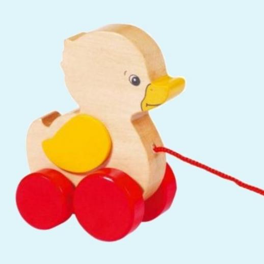 GOKI Zieh Ente Zieh-Tier Spiel Kleinkinder Nachzieh-Ente Holz